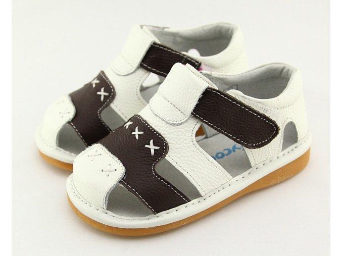Bielo-hnedé sandálky - Freycoo