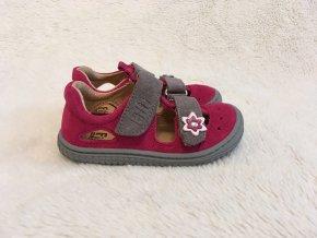 Sandále Kaiman Velcro Velours PINKGREY M Filii Barefoot 1