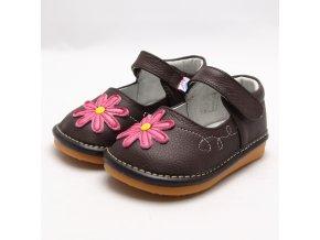 Hnedé topánočky s kvietkom - Freycoo