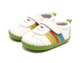 Športové topánočky s pásikmi - biela - Freycoo