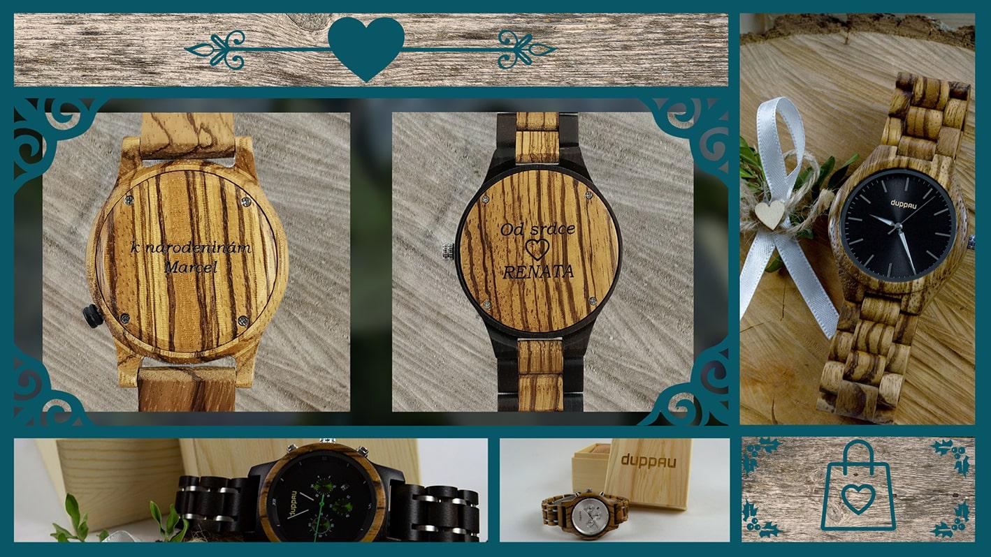 Dřevěné hodinky s gravírováním Duppau