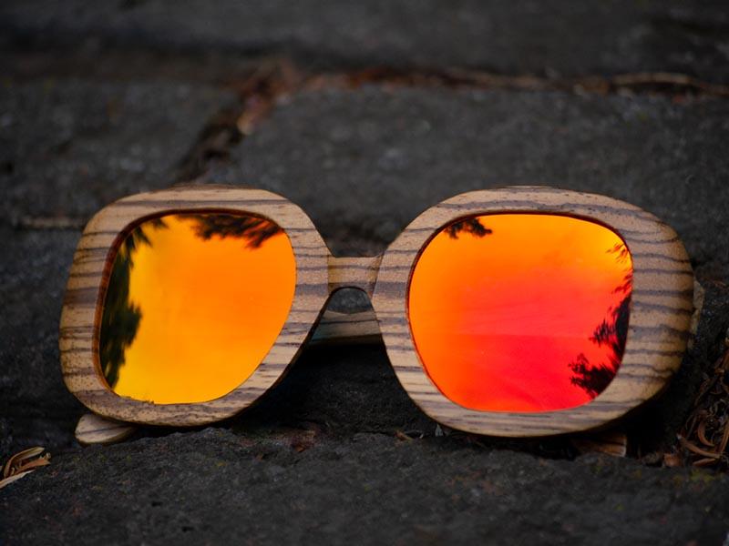 Dřevěné sluneční brýle Duppau Fly Zebra Orange jsou ideální pro hranatý obličej