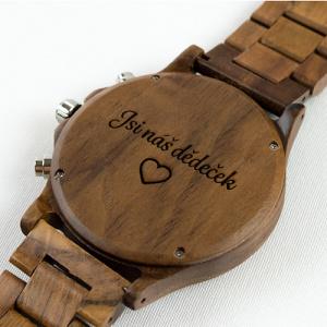 Dřevěné hodinky Duppau s věnováním jako dárek pro dědečka