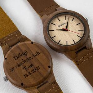 Dřevěné hodinky s gravírováním Duppau Eiko jako dárek pro tatínka