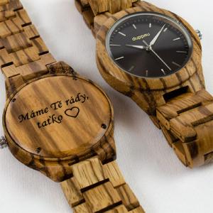 Pánské dřevěné hodinky Duppau Silvan s věnováním jako dárek pro tatínka