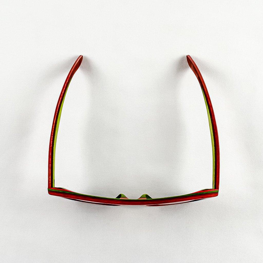 Dřevěné sluneční brýle s polarizačním filtrem - Duppau Skateboard Red