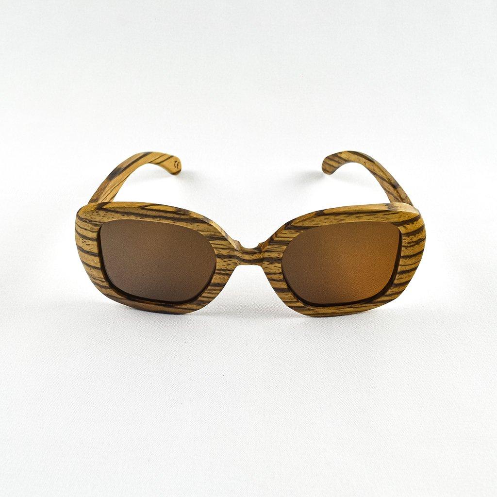 Dřevěné sluneční brýle s polarizačním filtrem - Duppau Fly Zebra Brown