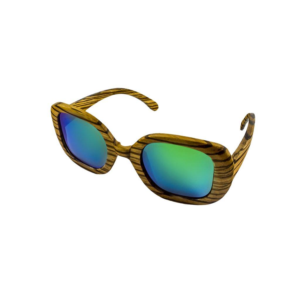 Dřevěné sluneční brýle Duppau Fly Zebra Green