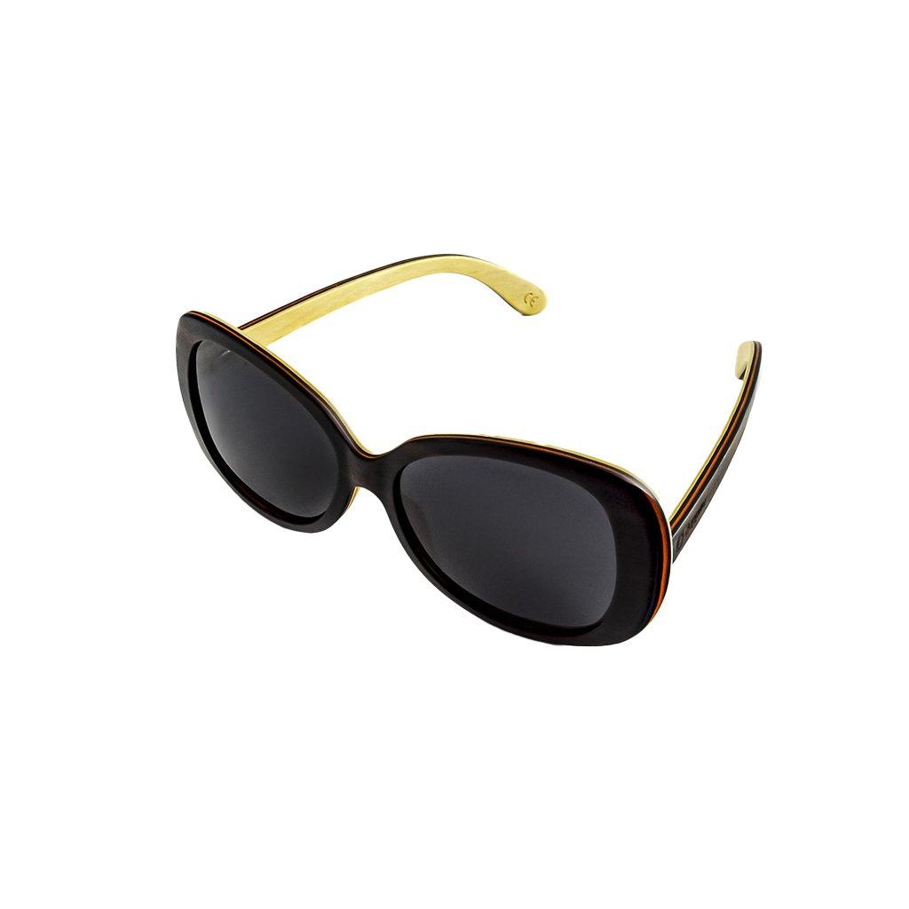 Dřevěné sluneční brýle Duppau Black Ebony, šedé čočky