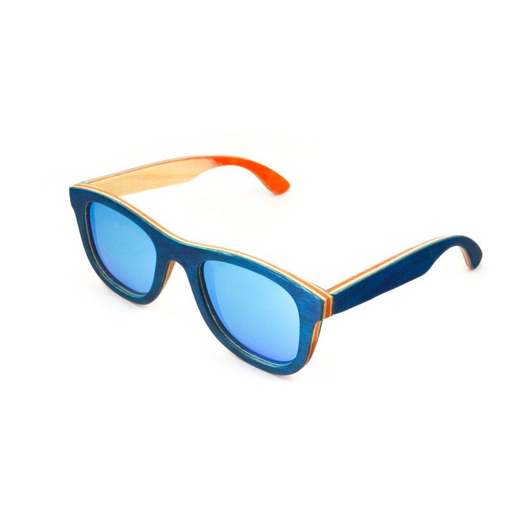Dřevěné sluneční brýle s polarizačním filtrem - Duppau Skateboard Blue