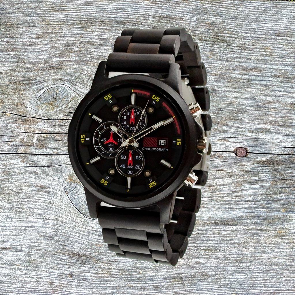 Dřevěné hodinky - Duppau Ebony Chronograph