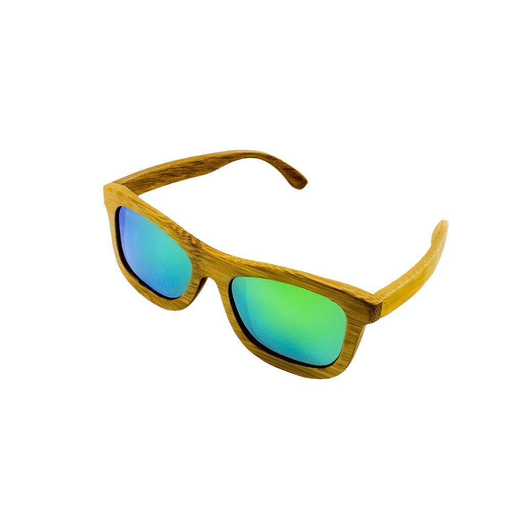 Dřevěné sluneční brýle Duppau Carbon Green, bambus, zelené čočky