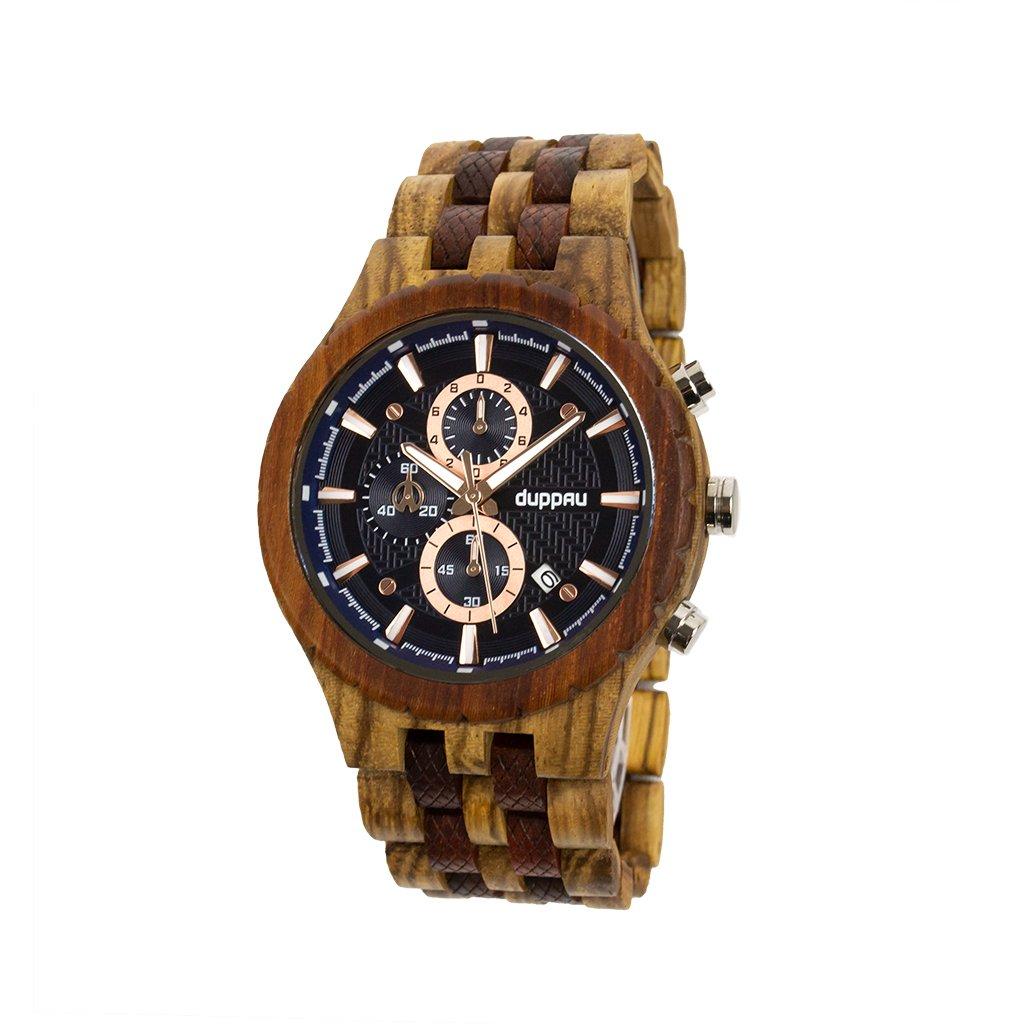 Dřevěné hodinky Duppau Akeno ze santalového a zebrano dřeva