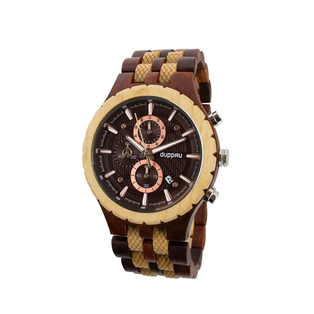 Pánské hodinky ze santalového a javorového dřeva s chronografem