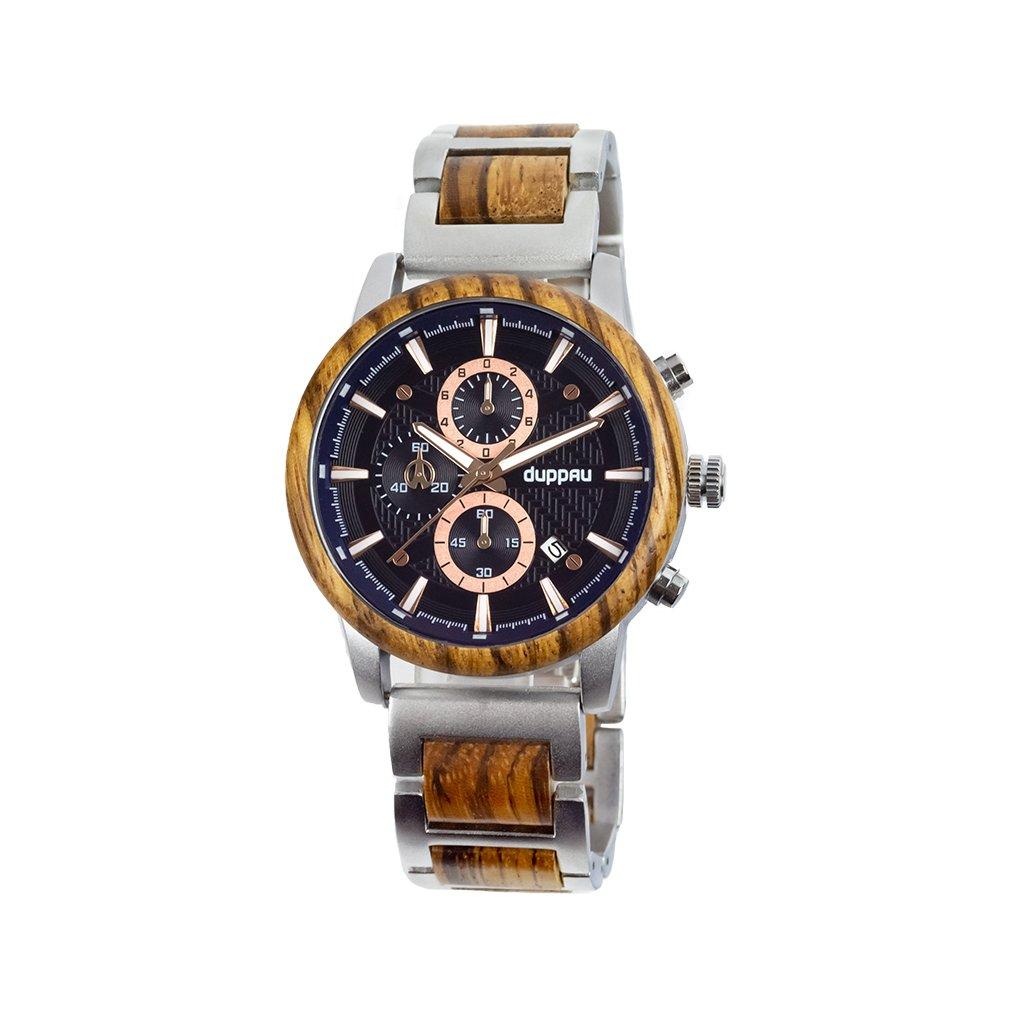 Dřevěné hodinky Duppau Nawin v kombinaci stříbrná a modrá barva