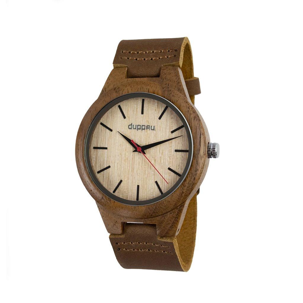 Dřevěné hodinky Duppau Eiko z ořechového dřeva a s koženým řemínkem