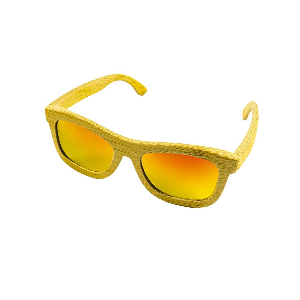 Dřevěné sluneční brýle Duppau Carbon Orange, oranžové čočky, bambus