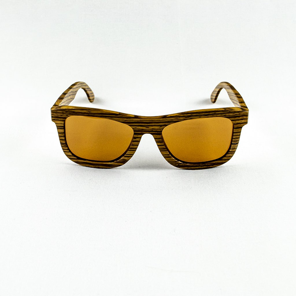 Dřevěné sluneční brýle s polarizačním filtrem - Duppau Zebra Brown