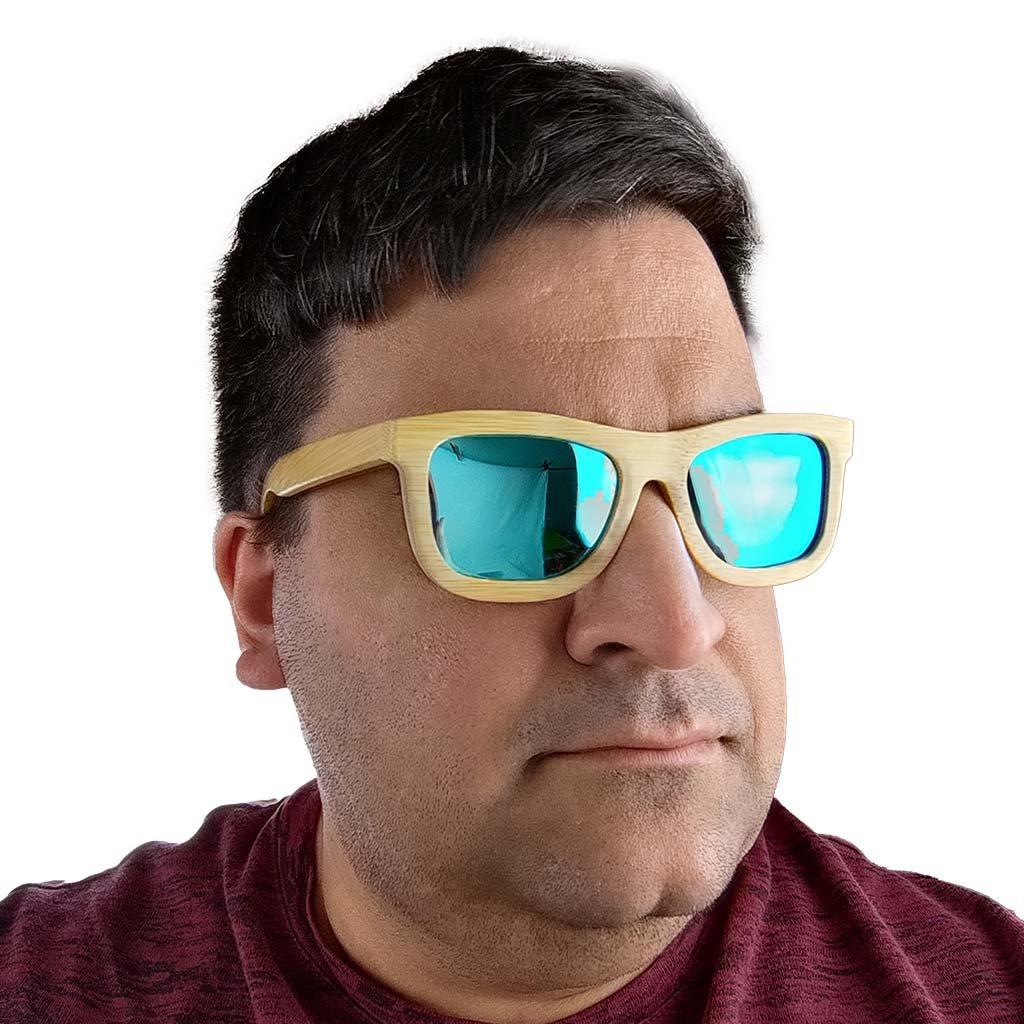 Dřevěné sluneční brýle s polarizačním filtrem - Duppau Blue