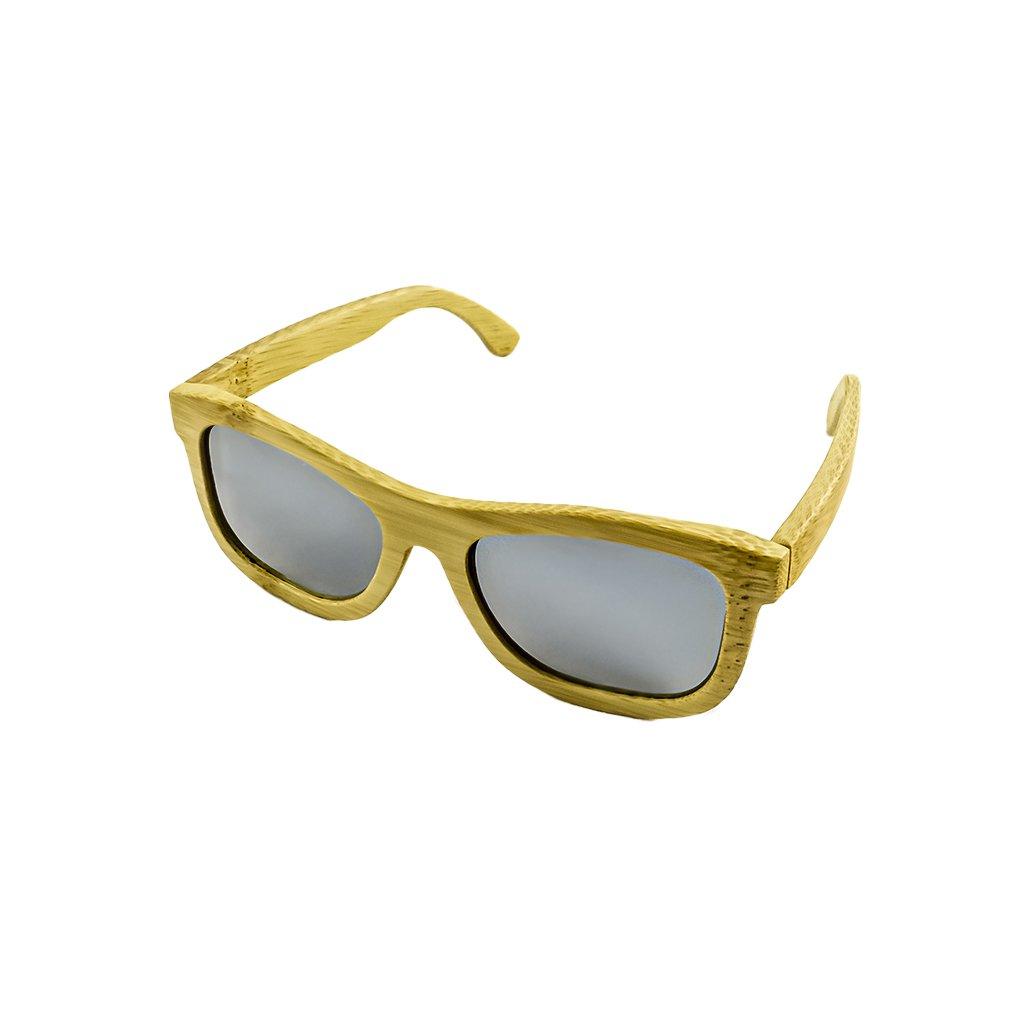 Dřevěné sluneční brýle Duppau Carbon Silver, bambus, stříbrné čočky