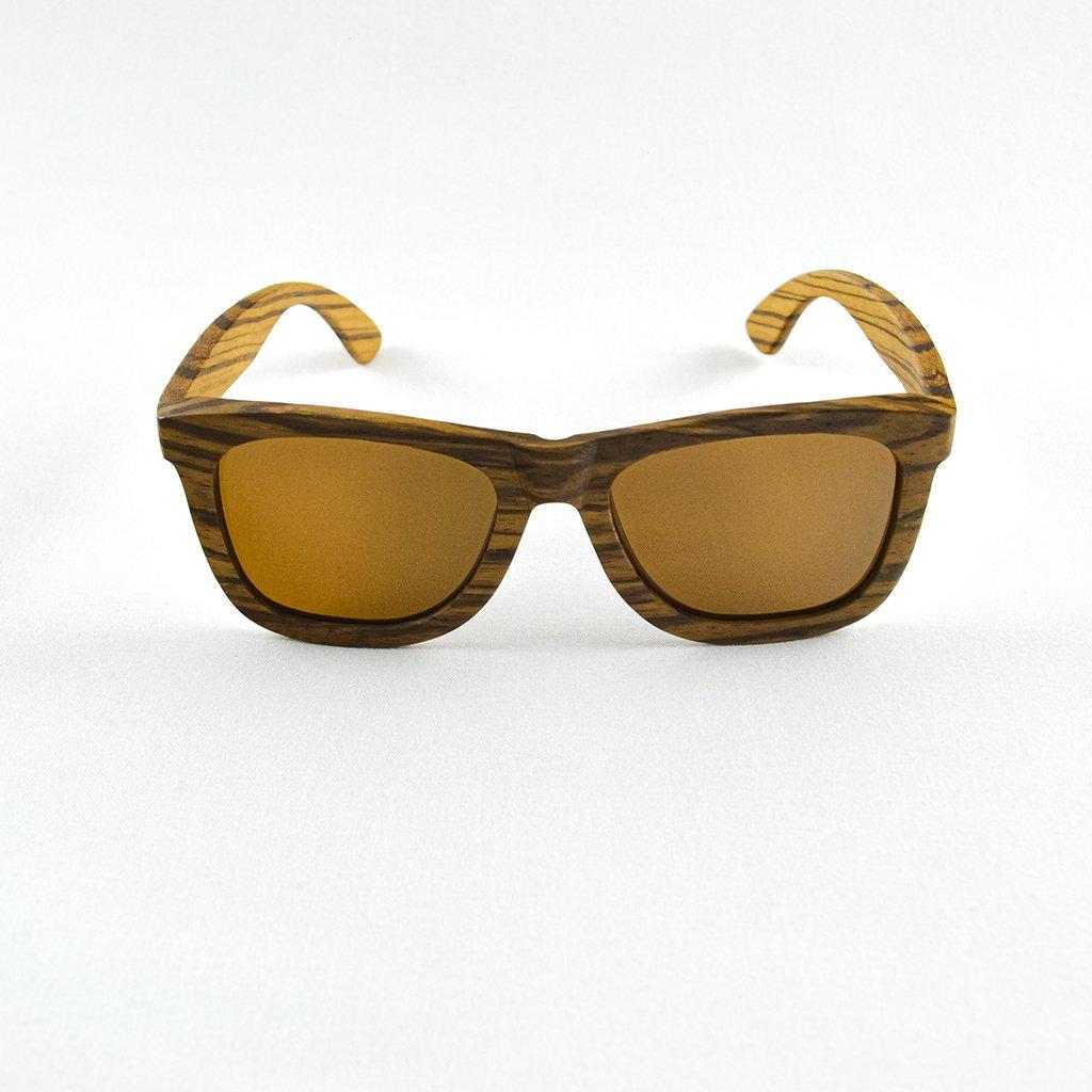 Dřevěné sluneční brýle s polarizačním filtrem - Duppau Zebra Nose Brown