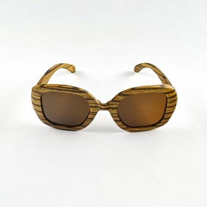 Dřevěné sluneční brýle - Duppau Fly Zebra Brown