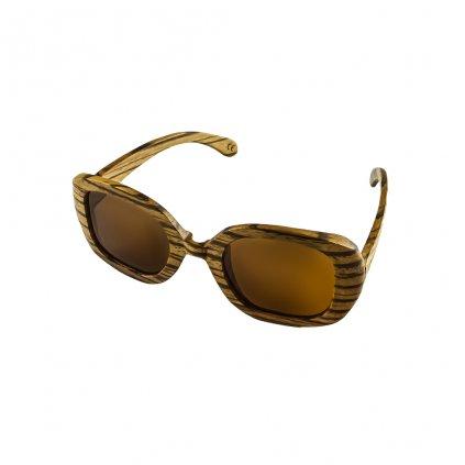 Dřevěné sluneční brýle cat eye Duppau Fly Zebra Brown