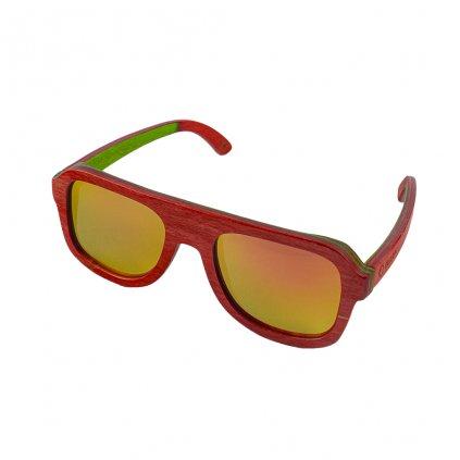 Dřevěné sluneční brýle Duppau Skateboard Red Shield