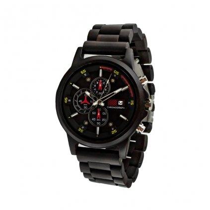 Dřevěné hodinky Duppau Chronograph Ebony