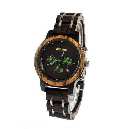 Dřevěné hodinky z ebenového a zebrano dřeva s chronografem Duppau Lauri pro muže a ženy