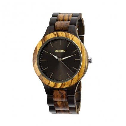 Dřevěné hodinky Duppau Vidar ze dřeva zebrano a eben