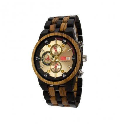 Dřevěné hodinky z ebenového a zebrano dřeva s quartzovým strojkem a chronografem Duppau Helios