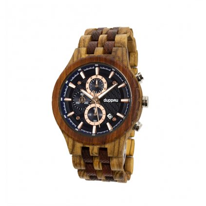 Dřevěné hodinky Duppau Akeno ze santalového a zebrano dřeva s možností věnování