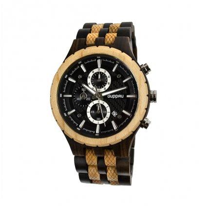 Luxusní pánské hodinky Duppau Rohan z javorového a ebenového dřeva