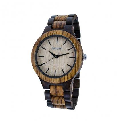 Dřevěné hodinky Duppau Woody z ebenového a zebrano dřeva s dřevěným ciferníkem