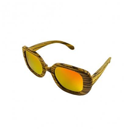 Dřevěné sluneční brýle Duppau Fly Zebra Orange