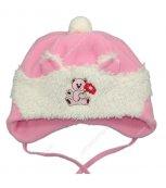 Zimní kojenecká čepice růžová