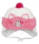 Zimní kojenecká čepice bílo-růžová