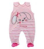Sametové kojenecké dupačky EWA Bunny růžové