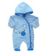 Vyteplený kojenecký overal EWA Bunny modrý