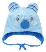 Sametová kojenecká čepička EWA Bunny modrá