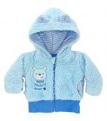 Vyteplený kojenecký kabátek EWA Teddy Bear modrý