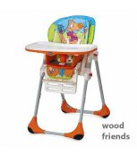 CHICCO Židle Polly 2v1 Woodfriend oranžová 2016