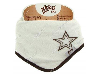KIKKO Bambusový dětský slintáček/šátek XKKO BMB - Natural Brown Stars
