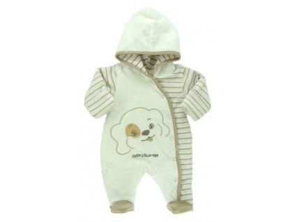 Vyteplený kojenecký overal EWA Bunny smetanový