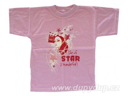 Dětské triko s krátkým rukávem starorůžové
