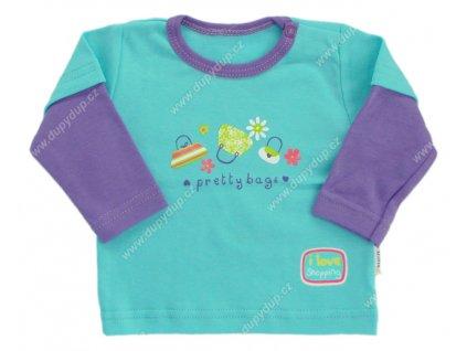 Tričko s dlouhým rukávem EWA - NEON tyrkysové
