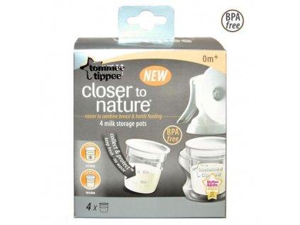 Nádobky na skladování mat. mléka C2N Tommee Tippee, 4ks 0+m