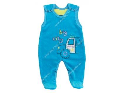 Sametové kojenecké dupačky EWA - NEON modré