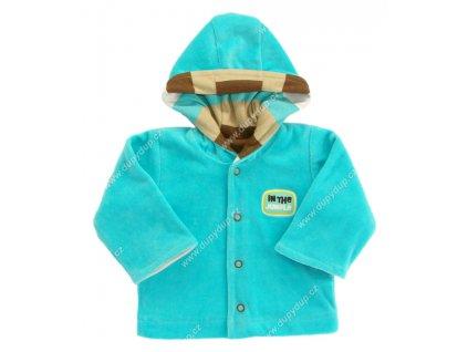 Sametový kabátek s kapucí EWA NEON - tyrkysový
